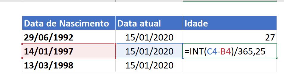 Sintaxe de INT para calcular idade no Excel
