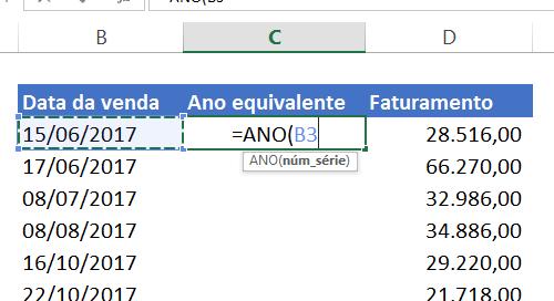 Abrindo função Ano no Excel