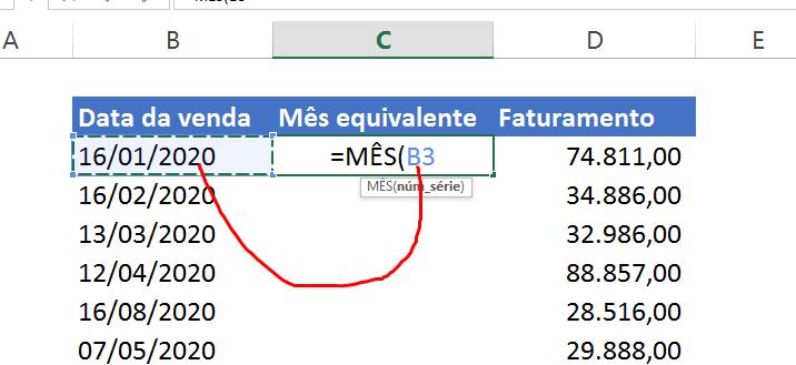Abrindo função MÊS no Excel