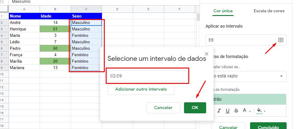 Adiconando intervalo para Formatação condicional no Google Planilhas