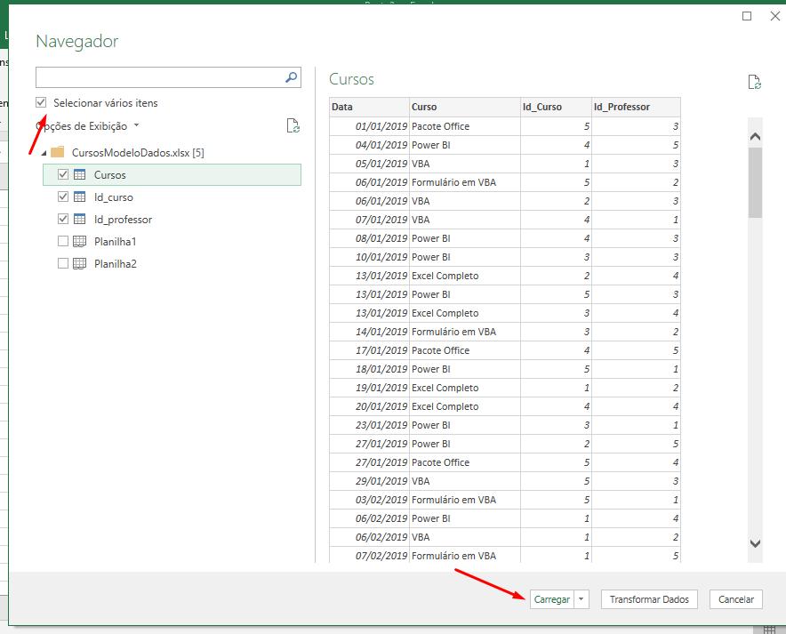 Carregando vários itens para Modelo de Dados no Excel