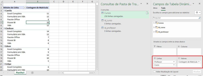 Criado o Modelo de Dados no Excel
