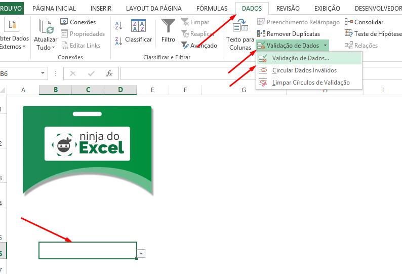 Criando a validação de dados para Como Fazer Crachá no Excel