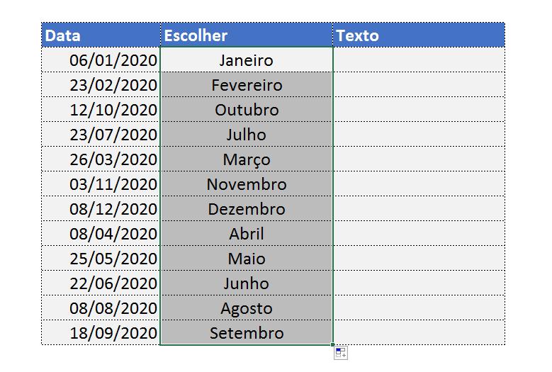 Escolher Mês por Extenso no Excel