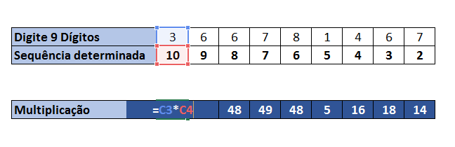 Fazendo multiplicação para validar CPF no Excel