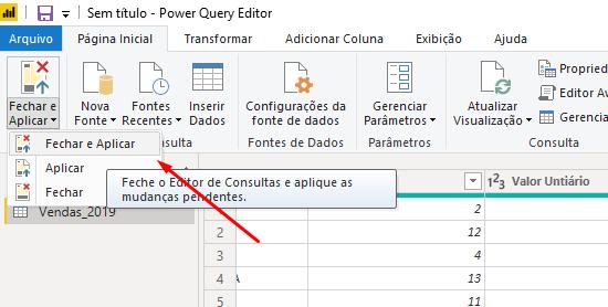 Fechando e aplicando para Como Classificar os Meses pelo Nome no Power BI