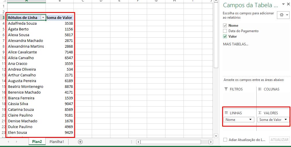 Filtros na tabela dinâmica para linha do tempo no Excel