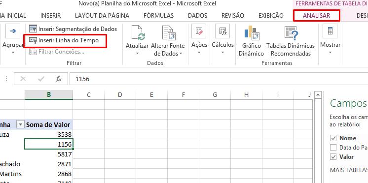 Inserindo linha do tempo no Excel