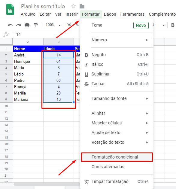 Intervalo de idade para Formatação condicional no Google Planilhas