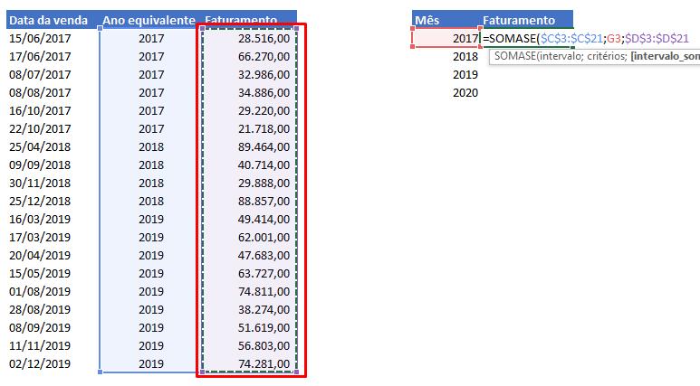 Intervalo de soma para função Ano no Excel