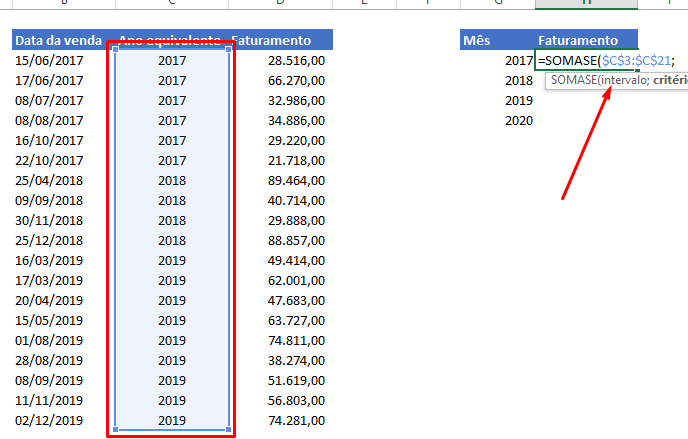 Intervalo para função Ano no Excel