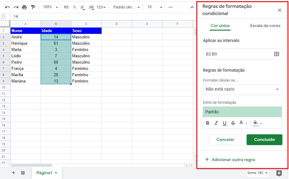 Janela Regras de Formatação condicional no Google Planilhas