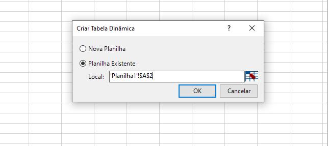 OK para Modelo de Dados no Excel