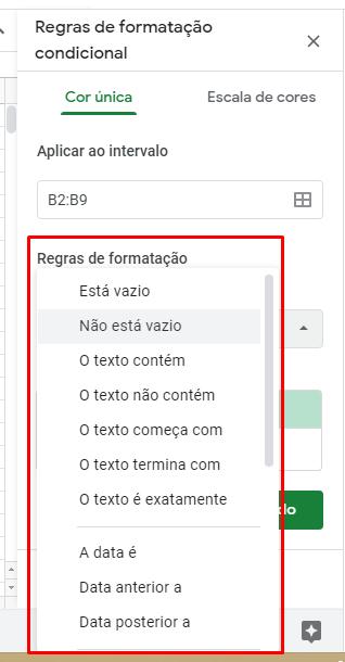 Regras de Formatação condicional no Google Planilhas