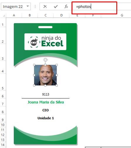 Buscando nome de Crachá no Excel