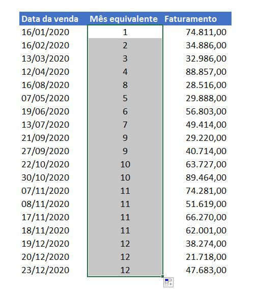 Todos os meses para a função MÊS no Excel