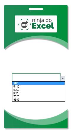 validação de dados funcionado em Crachá no Excel