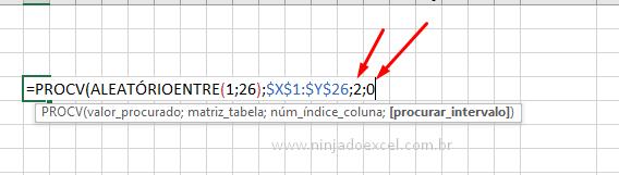 Últimos argumentos de PROCV para jogo de caça palavras no Excel