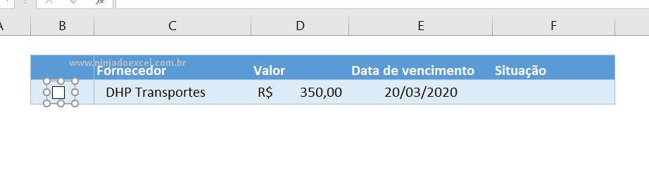 Ajustando caixa de seleção no Excel