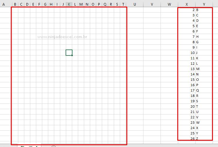 Ajustando campos para jogo de caça palavras no Excel