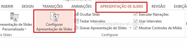 Apresentação do PowerPoint passe sozinha Configurar