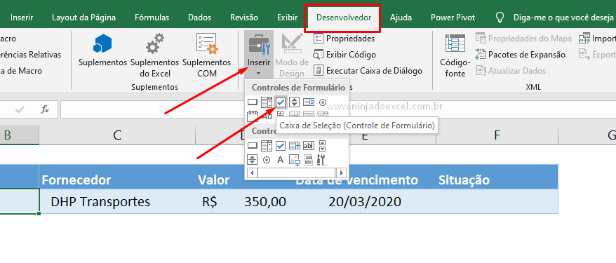 Caixa de seleção no Excel
