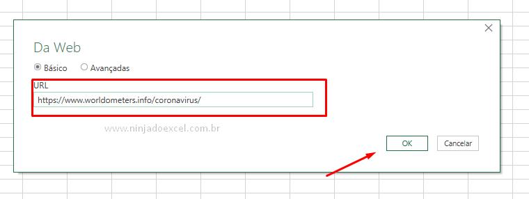 Colando link para Gráfico do Coronavirus no Excel