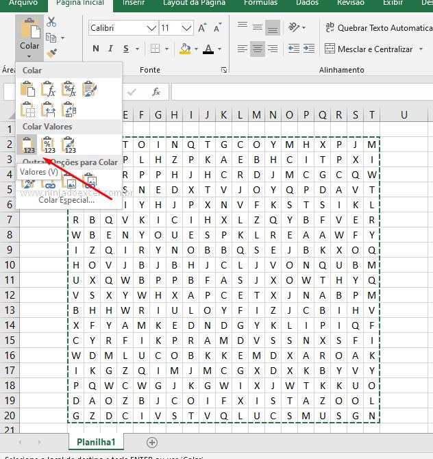 Colando valores para jogo de caça palavras no Excel