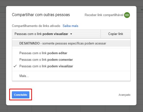 Concluindo seção link para Compartilhar Planilha do Google Planilhas