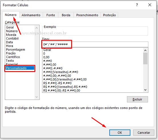 Configurando data com barras no Excel