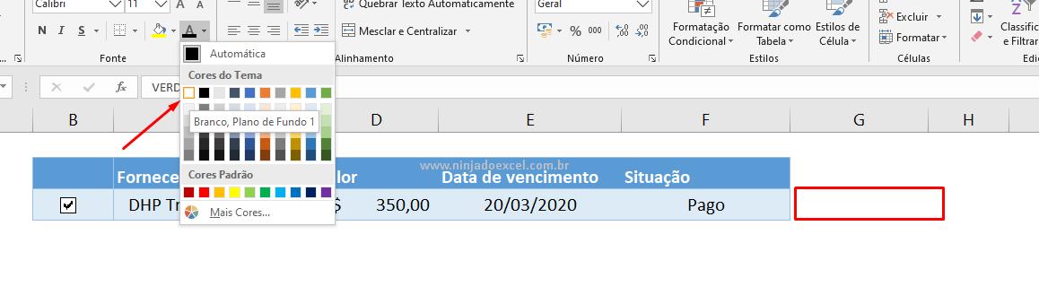 Cor da fonte branca para caixa de seleção no Excel