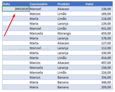 Digitando valores para data com barras no Excel