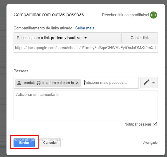Enviar email para Compartilhar Planilha do Google Planilhas