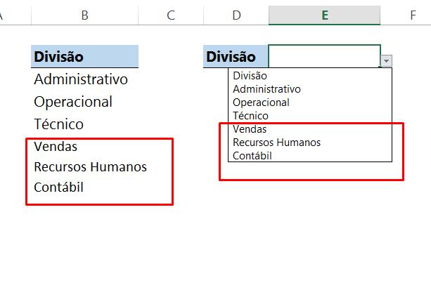 Final de Função DESLOC na validação de dados