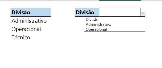 Função DESLOC na validação de dados Simples
