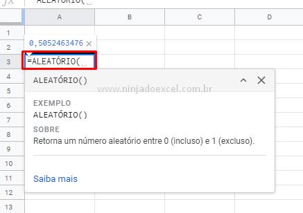 Função aleatório para Valores Aleatórios no Google Planilhas