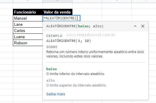 Função aleatórioentre para Valores Aleatórios no Google Planilhas