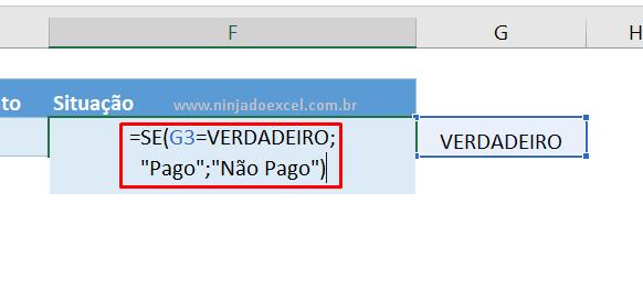 Função se para funcionar a caixa de seleção no Excel