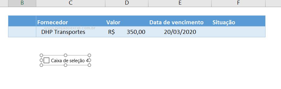 Inserindo caixa de seleção no Excel