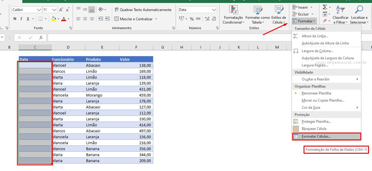 Intervalo para data com barras no Excel