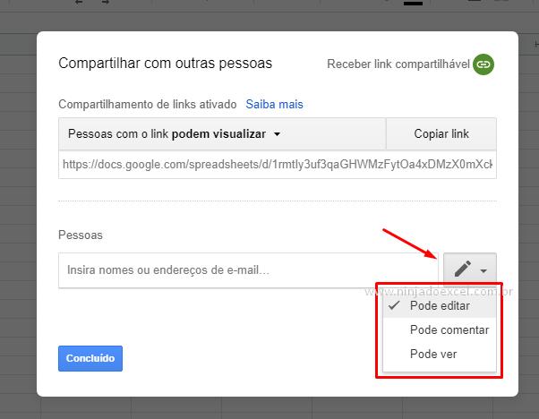 Permissões por meio de email para Compartilhar Planilha do Google Planilhas