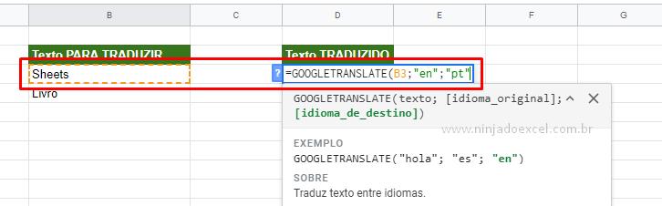 Primeira sintaxe da Tradução no Google Planilhas
