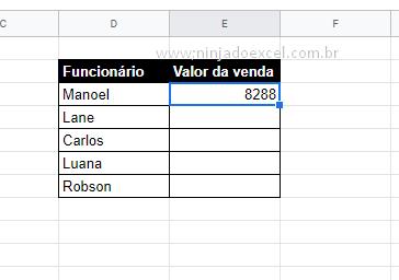 Resultado de aleatórioEntre para Valores Aleatórios no Google Planilhas