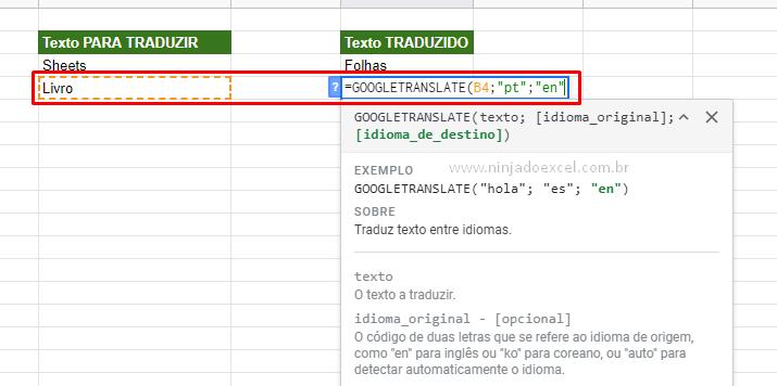Segunda sintaxe da Tradução no Google Planilhas
