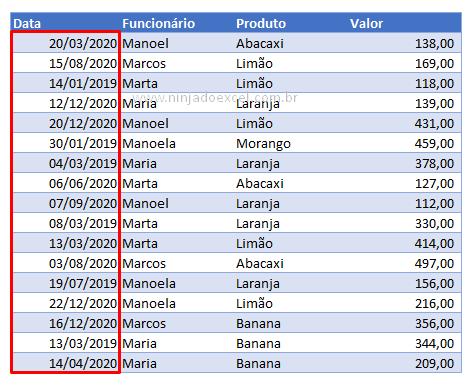 Todos os resultado da data com barras no Excel