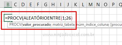 Usando PROCV para jogo de caça palavras no Excel