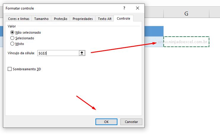 Vínculo de célula para caixa de seleção no Excel